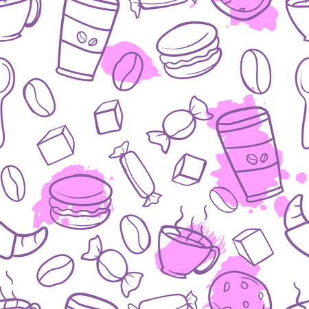 Vector seamless pattern with image of tea, coffee, mugs, teapots, cakes in purple on a white background in the style of doodle.