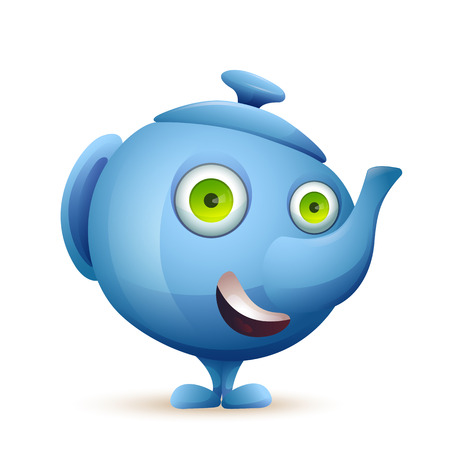 Vector image. Cute cartoon character blue tea pot with big eyes smiling.