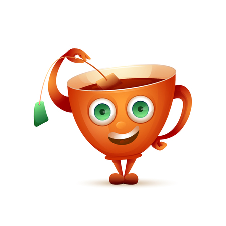 Vector image. Happy mug of tea. Cute cartoon character mug with big eyes. Ilustração