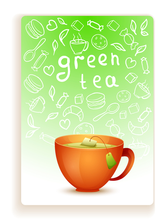 Vector image. Cute cartoon yellow mug of hot green tea. Card with doodle elements  イラスト・ベクター素材