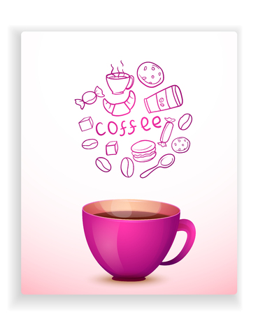 Vector image. Cute cartoon purple mug of hot coffee. Card with doodle elements  イラスト・ベクター素材