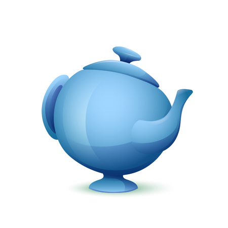 Vector image. Cute cartoon blue teapot on a white background.
