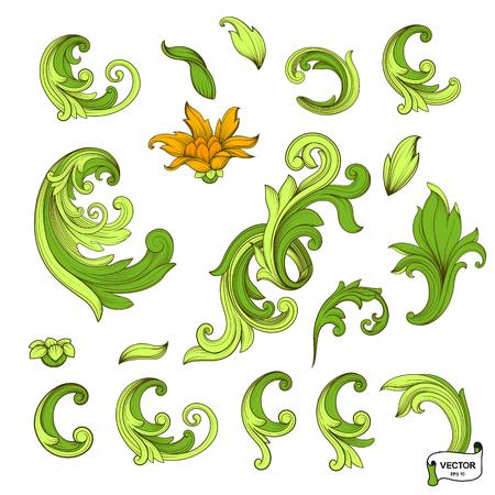 Vector image. Set of element baroque engraved floral scroll retro pattern. Green victorian frame border ornament. Filigree vintage calligraphic elements for design.