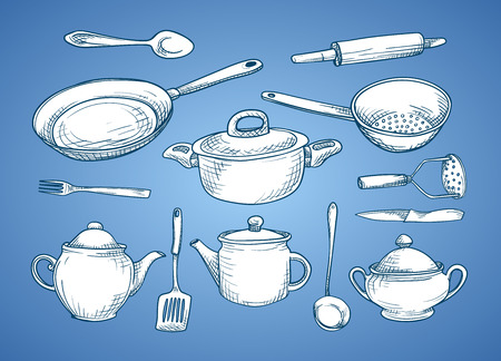Vector image. A set of sketches with kitchen utensils. white dishes on a blue background.