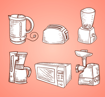 Vector image. A set of sketches with kitchen utensils. white dishes on a pink background Illustration
