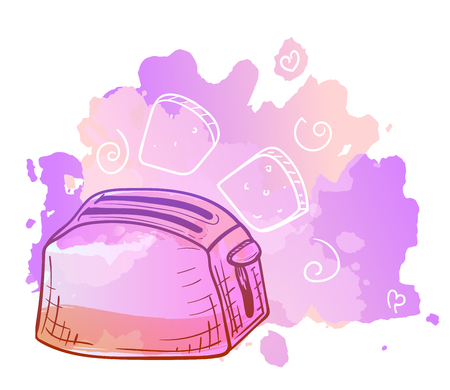 Vector image. Toaster with doodle elements. Bright color sketch, kitchen utensils. Imitation of watercolor stains.