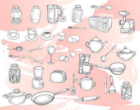 Vector image. Big set of sketches with kitchen utensils. white dishes on a pink background Illustration