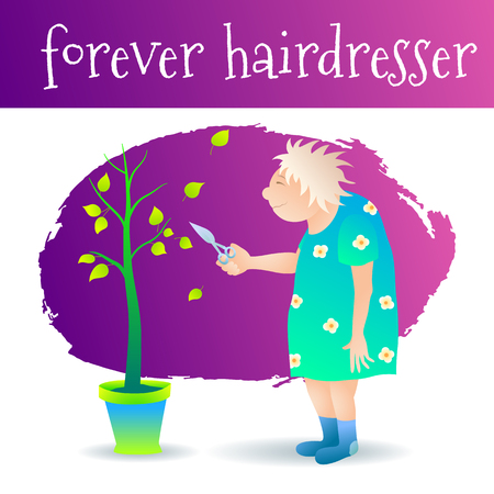 Vector illustration. An old retired mad hairdresser is cutting a tree. Funny caricature in cartoon style.
