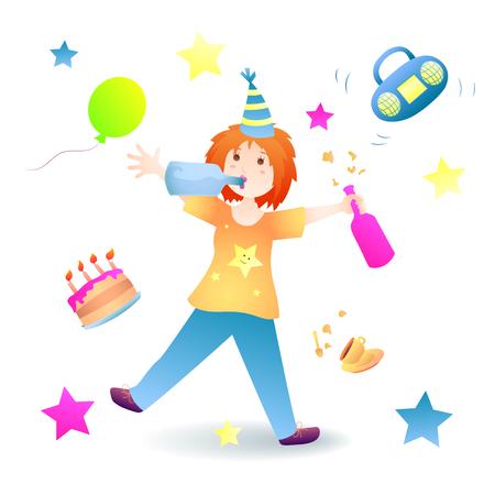 Birthday, holiday. Redhead woman is having fun. Illustration