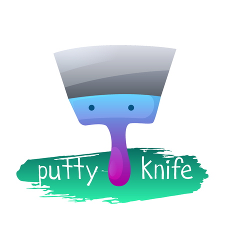 Vector image. Putty knife icon in cartoon style. Tools for repair. Иллюстрация