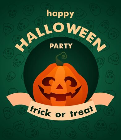 Vector illustration. Trick or treat. Halloween Party. Cartoon character spooky pumpkin. Jack O Lantern party.