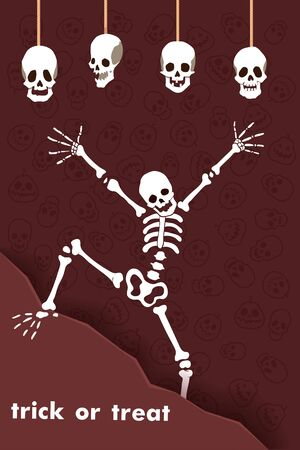 Vector illustration. Halloween Party. Cartoon character funny skeleton with skulls. Trick or treat.