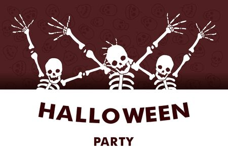 Vector illustration. Halloween Party. Cartoon character funny skeletons. Trick or treat.