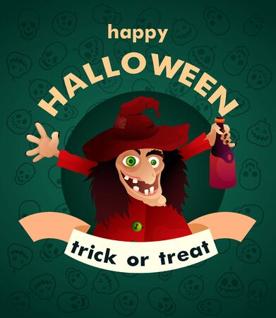 Vector illustration. Halloween Party. Cartoon character funny witch. Trick or treat. Ilustração