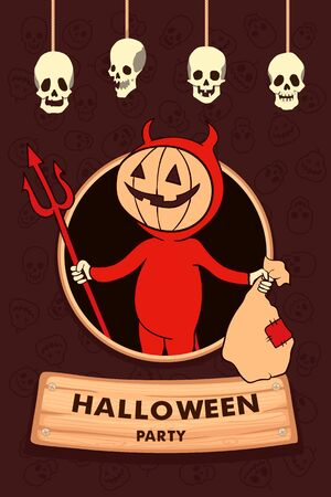 Vector illustration. Halloween Party. Cartoon character funny little devil. Trick or treat.