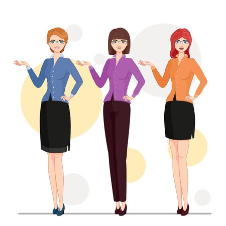 Vector illustration. Cartoon character cute business woman in formal clothes. Set of a business woman in three veriants with different hair, smiles and clothes. Ilustração
