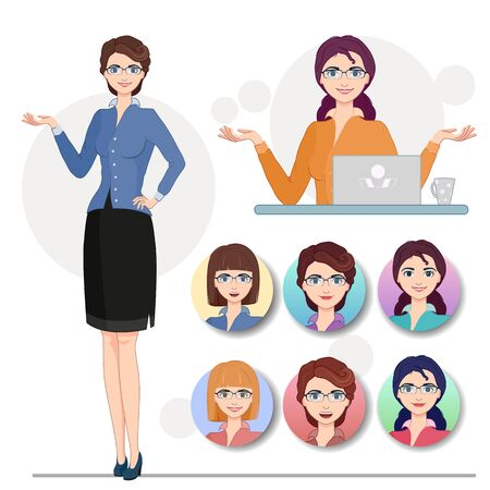 Vector illustration. Cartoon character cute business woman in formal clothes. Set of full-length girl, sitting at the computer, face icons with different hairstyles and a smile.