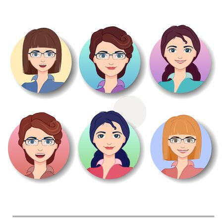 Vector illustration. Cartoon character cute business woman. Set of icons with women.