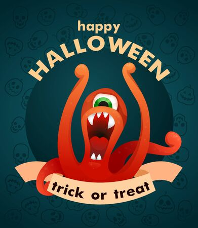 Vector illustration. Cartoon character spooky monsters. Trick or treat. Halloween Party. Ilustração