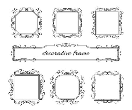 Vector image. Set of vintage frames with floral scrolls and curls.