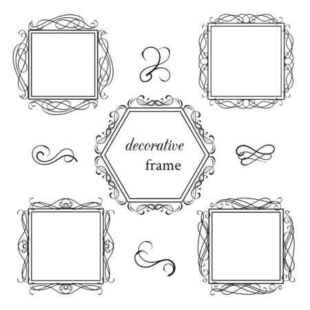Vector image. Set of vintage frames with floral scrolls and curls.