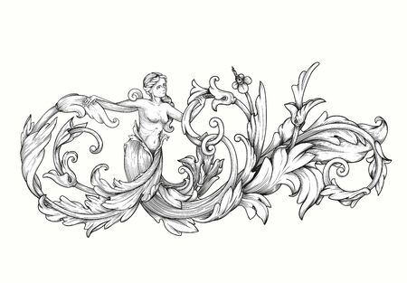 Vector image. Decorative floral elements, corners, borders, frame, crown. Page decoration. Vintage baroque corner scroll ornament engraving. Decorative element with a woman.