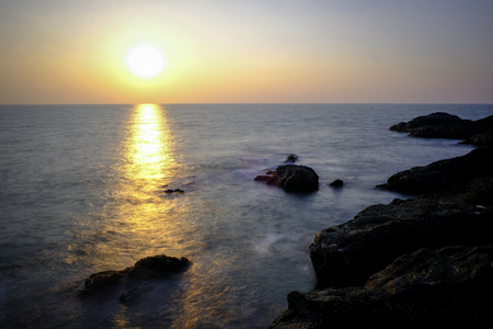 Dramatic sunset on the Arabian Sea. From a cliff. Gokarna (Karnataka, India) Gokarna (Karnataka, India)