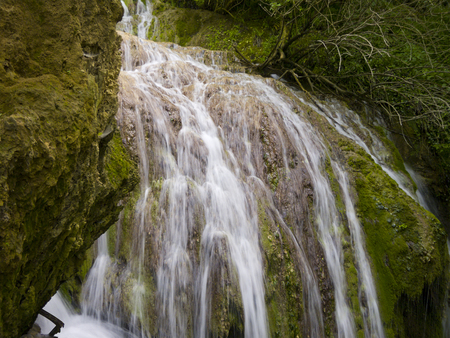Water etudes in waterfall near the village Kruchuna photo