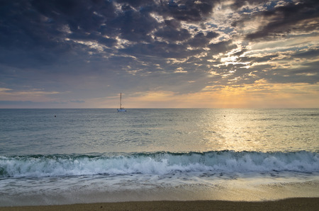 Eternity on Bulgarian sandy shore near sunrise meditation photo