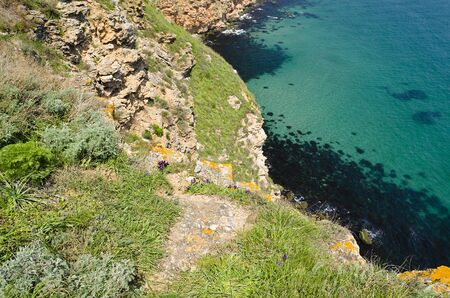 headland: Bulgaria, Black Sea. Coastal landscape. Kaliakra headland