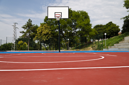 red competition: Basketball Court after the rain