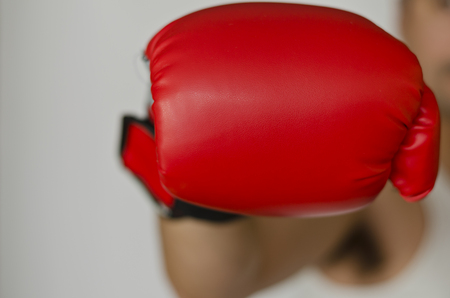 red competition: Boxing glove headed into the front of you