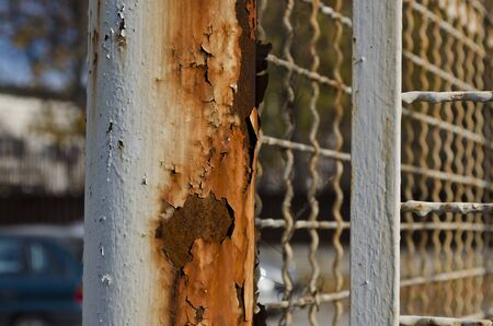 prison guard: Old rusty wire fence with a depth of field