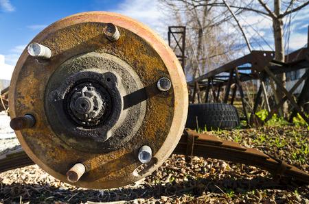 rusty car: Car disc break with rusty bolts