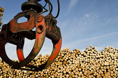 cargador frontal: levantar objetos pesados ??grúa de carga cortar troncos de madera