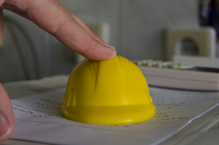 drafts: Paper drafts with a construction helmet Stock Photo