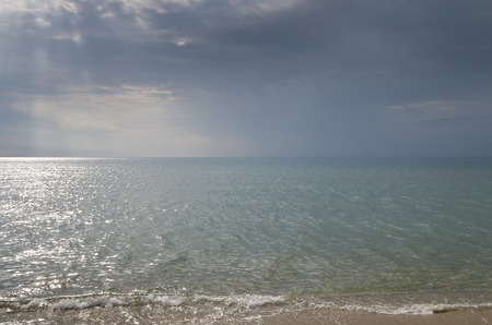 Summer vacation on bulgarian sea - morning on the beach Фото со стока