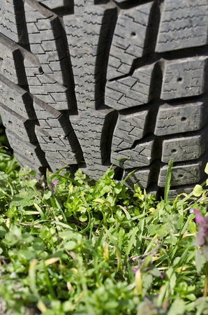 Tire with track in the green grass Stock Photo