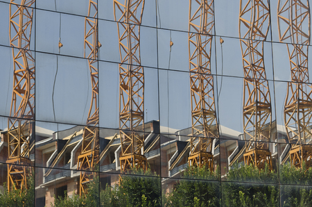 Big lifting crane in the construction site