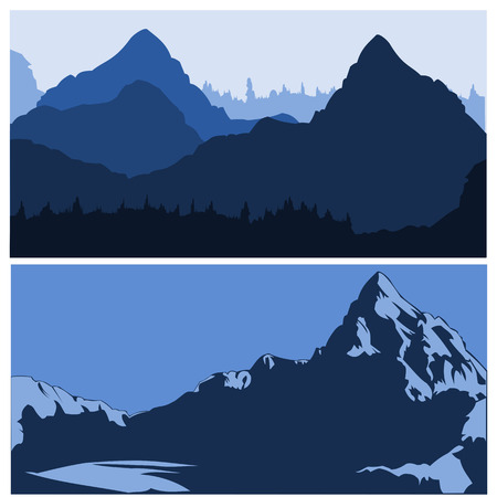 vector couple of mountains skylines