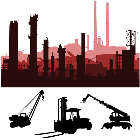 shilouette: vector industrial skylines and machines Illustration