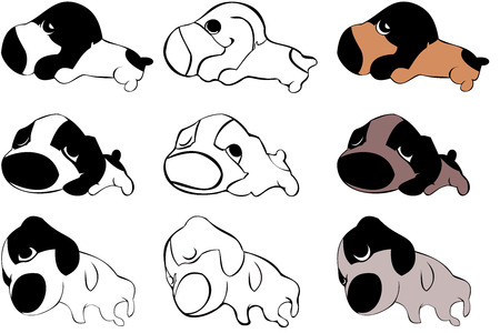 shilouette: vector collection of puppies icons