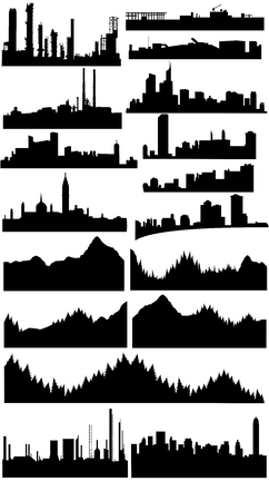 skylines: vector collection of different skylines Illustration