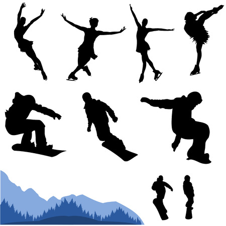 shilouette: vector collection of snowboard and artistic figure, banner also Illustration