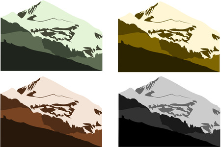 vector collection of european mountains in different colors Vector