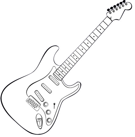 rocha: vector draw of a rock guitar Ilustra��o