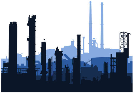 shilouette: vector of an industrial skylines in blue Illustration