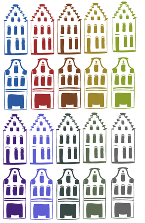 collection of colored houses icons set Vector