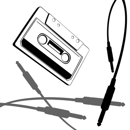 analogical: vector graphic with music cassette old style and jack cable Illustration