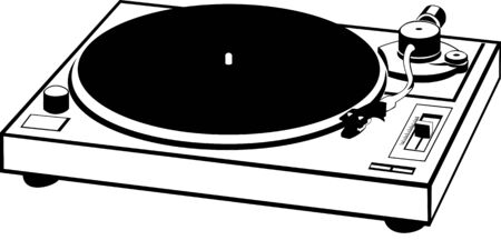 hi fi: vector drawn of a record player